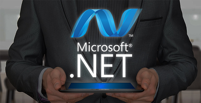 .net development services represented by .net logo on monitor
