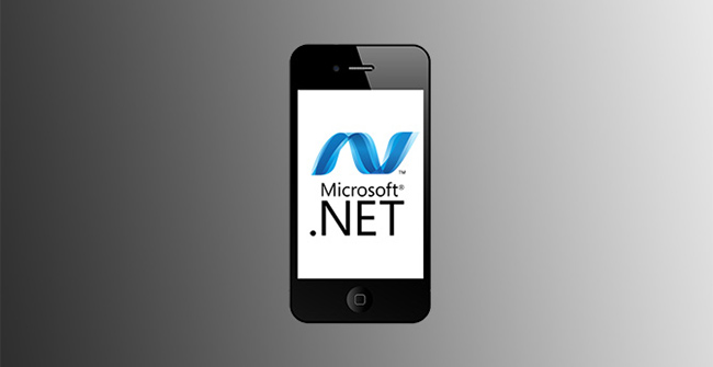 .net mobile development services represented by .net logo on phone